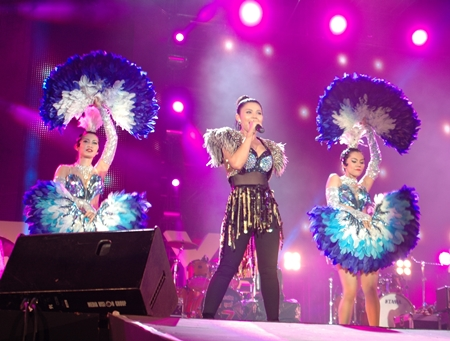 Taktaen Cholada and her beautiful dancers rock the stage on the final day of Pattaya International Music Festival. A year after crowds shunned the 2012 festival due to royal funerals and Songkran, the March 22-24 festival again filled Pattaya with nearly a half-million visitors who, the Tourism Authority of Thailand estimated, spent about 300 million baht. Four stages were filled with music and enthralled audiences for a festival unblemished by violence.
