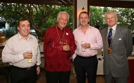 (L to R) Brinley Waddell, Skål International Thailand Secretary; Graham Blakey, Skål International director; Garth Solly, vice president of Skål International Pattaya and East Thailand and Andrew Wood, Skål International Thailand president.