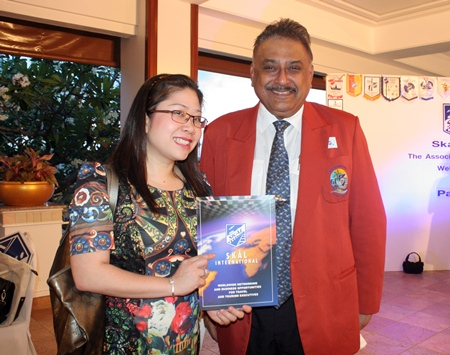 Yuwathida Jeerapat, Pattaya city councilwoman and spokesperson with Pratheep Malhotra, founding member of Skål International Pattaya and East Thailand.