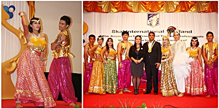 Tony and Rungratree pose with the Dusit Thani Honey Bees who put on a spectacular Indian themed song and dance show much to the enjoyment of the guests.