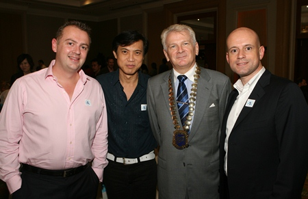 (L to R) Garth Solly, vice president of Skål International Pattaya and East Thailand, Pichai Visutriratana, director of Worldwide Destinations Asia Co Ltd, Andrew Wood, Skål International Thailand president and Dominique Rongé, GM, Centara Grand Resort & Spa Pattaya.