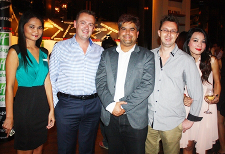 (L to R) Holiday Inn sales manager Jiraporn Charoenpan, Garth Solly, GM of Holiday Inn Pattaya, Tony Malhotra, Deputy managing director of Pattaya Mail Media Group, Nigel Quennell and Panada Kanjanabapapin, sales executive with Exact Trading Co., Ltd.
