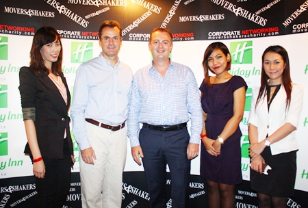 (L to R) Weeraya Sakolchai, Amari Orchid Pattaya sales manager, Richard Margo, Amari Orchid Pattaya residence manager, Garth Solly, GM of Holiday Inn Pattaya; along with Amari assistant sales managers Sirikorn Chingduang and Pacharin Machima.