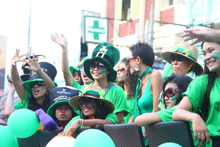 Everyone was dressed in green on St. Patrick's Day in Pattaya.