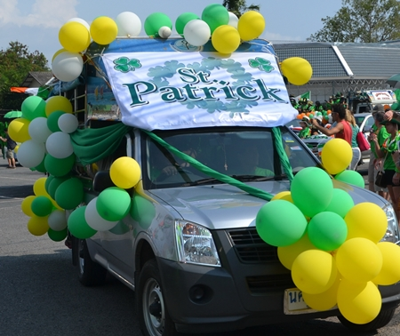 One of the many decorated vehicles that took part in the parade along Beach Road.