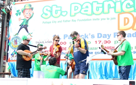 An Irish band plays Irish music to get everyone in the mood for St. Patrick's Day.