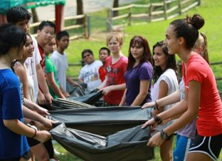Students take part in a variety of teambuilding activities.