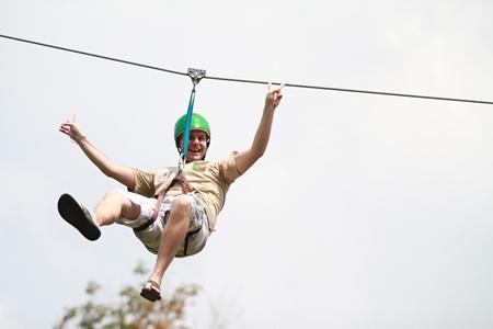 Flying high on a zipline.