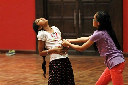 Students learn many new drama skills at the event.