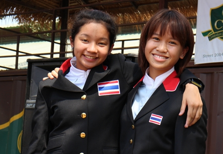 Lily-Mae Toon (left) with another rider from Thailand.