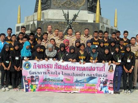 Vice Adm. Sonthaway Noichaya welcomes 50 Muslim and Buddhist teens to Chumphon Camp.