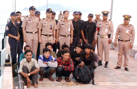 The Royal Thai Navy has arrested 9 Cambodians fishing illegally in Thai waters.