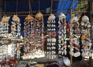 Some of the many beautiful creations for sale at Wong Amat Beach.
