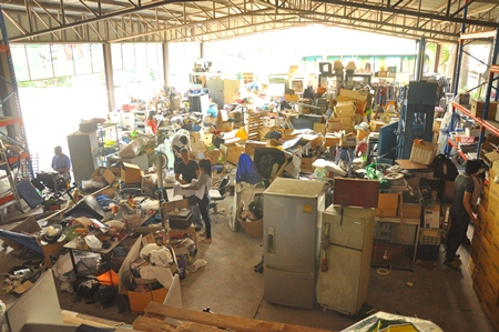 The warehouse was a mess until help arrived from Thammasat University and Might International Co.