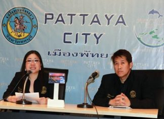 Pattaya spokesperson Yuwathida Jeerapat (left) and city council member Banjong Banthoonprayuk (right) announce the city is spending 1.5 million baht to help organize and promote AdFest 2013.