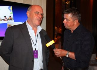 Paul Strachan (right) interviews for PMTV Joe Grunwell (left), chairman of the Light House Club Pattaya.