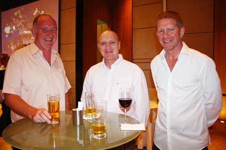 (L to R) Tom Dallyn from Huay Yai Villas, Rene Christensen Dokbua and Richard Bell, Managing Director of Cornerstone Management Co., Ltd. discuss the future of real estate in Pattaya.