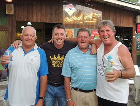 Monday podium placers (from the left): Barney Clarkson, Ed Butcher, Rod Crosswell, and Rosco Langoulant.