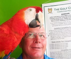 February Monthly Medal winner John Emmerson with Polly.