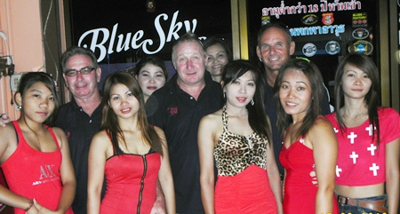 Friday's top three pose with the staff at Blue Sky Bar.