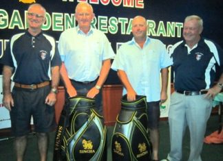 The winning team - Bob Watson and Max Scott with PSC President Tony Oakes (left) and PSC Golf Chairman Joe Mooneyham (right).