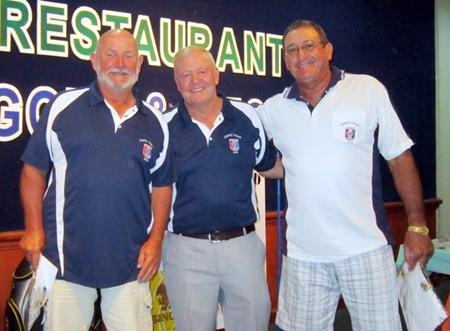 Runners-up Max Bracegirdle and Stu Rifkin flank PSC Golf Chairman Joe Mooneyham.