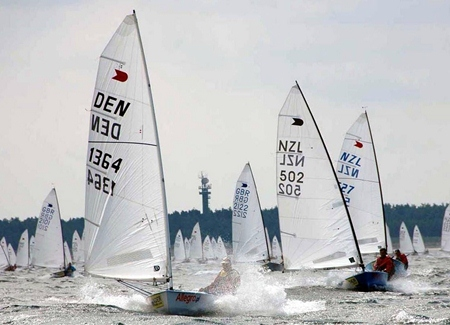 OK dinghy's compete in the 2011 World Championship. (Photo/okdia.org)