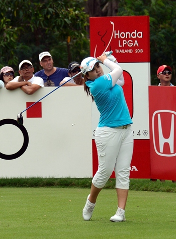 Inbee Park tees off during the final round of the Honda LPGA Thailand golf championship.