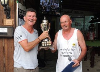 Graham Holmes (left) receives the TIAC trophy from The Outback Capt' Steve Mann.