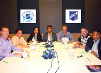 (L to R) Garth Solly, Neil Maniquiz, Jeena Saguansap, Tony Malhotra, Ingo Raeuber, Paul Strachan and Peter Malhotra pause for the paparazzi during the historical first board meeting after the rebirth of Skål International Pattaya & East Thailand.
