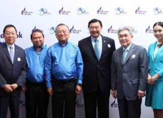 (L to R) Suthikiati Chirathivat, Vice-Chairman - Central Group; Capt. Puttipong Prasarttong-Osoth, President of Bangkok Airways; Prasert Prasarttong-Osoth, CEO of Bangkok Airways; Sorajak Kasemsuwan, President of Thai Airways International Plc.; and Pravit Maleenont, Executive Director of BEC World.