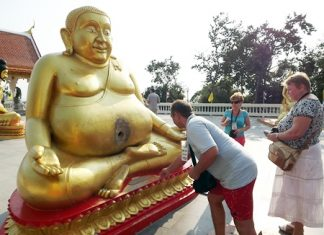 The statue looks bemused as more Russian tourists toss coins towards its belly, allegedly believing that if the coin enters its belly, their wish will come true.