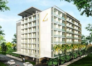 An artist's drawing shows the AbaTalay Condominium in Jomtien.