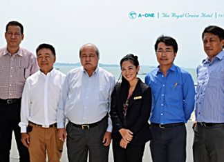 In preparation for the imminent forming of the ASEAN Economic Community (AEC) in 2015, Borisuth Prasopsub (3rd left), Executive Director of the Tourism Authority of Thailand (TAT) Eastern Region invited top TAT executives from Rayong, Chantaburi and Chonburi to a seminar to plan strategies for handling the influx of tourists from these countries. The meeting was held at A-One The Royal Cruise Hotel Pattaya, where Sunee Vaewmanee (3rd right), the PR manager welcomed them. The guests included Chuchart Oncharoen, Director of TAT Rayong & Chanthaburi; Chairat Trirattanajarasporn, Chairman of Rayong Tourist Association, Watcharapol Sarnsorn, Marketing Consultant of TAT Rayong & Chanthaburi; and Chaiwat Tamthai, Assistant Director of TAT Pattaya.