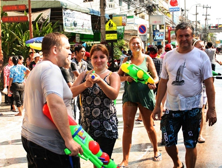 Kids young and old love playing Songkran.