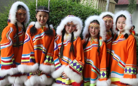 Ready to perform a traditional reindeer dance.