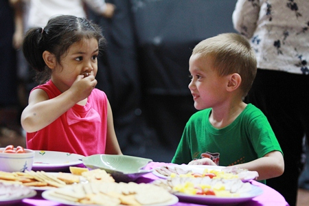 These taste great! Young visitors enjoy the snacks.
