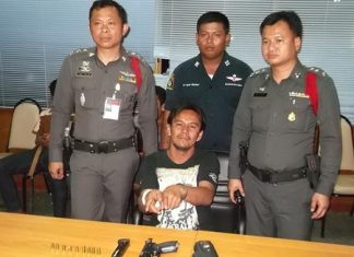 Sarawut Charoenklang was arrested for shooting a 9mm handgun in public.