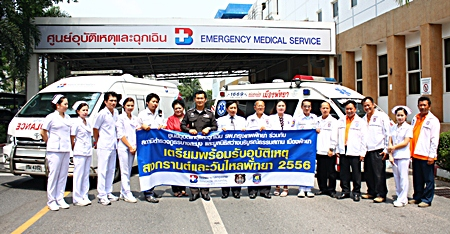 BHP Deputy Director Dr. Supakorn Winnawan and Banglamung Police Col. Suwith Sawaengmongkol (center left and right), hoping for the best but preparing for the worst, say they are ready for the inevitable annual Songkran road carnage.