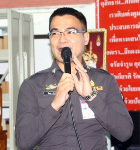 Police narcotics officer Punya Niemmee lectures on the penalties for drug offenses.