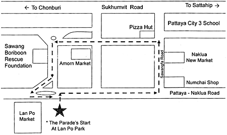 Naklua parade route map. The parade will take place on April 18 from 10 am onwards at Lan Po Park.