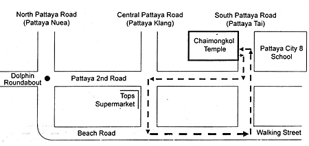 Pattaya City parade route map. The parade will take place on April 19 from noon onwards at Chaimongkol Temple.