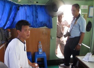 "The Royal Thai Navy pulled Burmese fisherman ""Rambo"" (left) from the sea about 2.5 miles from Sattahip."