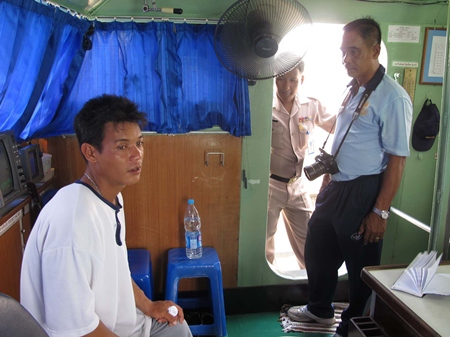 """The Royal Thai Navy pulled Burmese fisherman """"Rambo"""" (left) from the sea about 2.5 miles from Sattahip."""