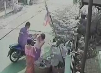 A security camera caught footage of Jaturong Nuamsree snatching a gold necklace from one of his victims in Sattahip.