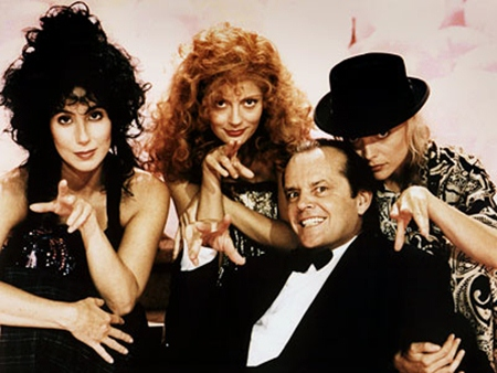 """Jack Nicholson and his female co-stars, Cher, Susan Sarandon and Michelle Pfeiffer, in the 1987 movie """"Witches of Eastwick."""""""