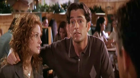"Julia Roberts and Rupert Everett in the 1997 romantic comedy ""My Best Friend's Wedding."""