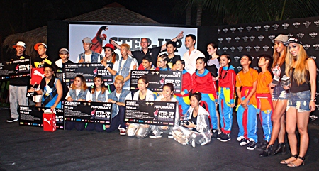 Top teams in the Step Up Dance competition pose with judges and sponsors at the Hard Rock Pattaya.