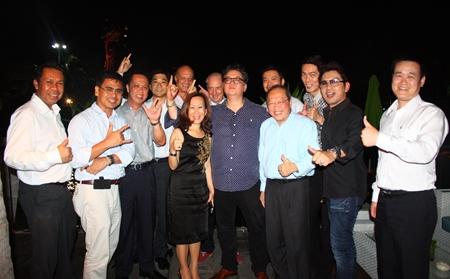 (l-r) Sompat Jantawan (GM of Tsix5 Hotel), Sittidej Rochanavibhata (GM Cape Dara Resort), Neoh Kean Boon (RM Dusit Thani Pattaya), Tomo Kuriyama (GM Sheraton Pattaya),  Philippe Delaloye, Jitmanee Siravithayavanich (Way Hotel), Dr Iain Corness (Pattaya Mail), Jorge Carlos Smith (GM Hard Rock Hotel), Nopporn Kanchanamanee (District Sales Manager of Thai Airways, Pattaya), Chatchawal Supachayanont (GM Dusit Thani Pattaya), Sanpech Supabowornsthian (right), Assistant Managing Director of The Zign, Prayuth Thamdhum (GM Montien Pattaya) and Somkhit Tonsaiphet (The Zign).