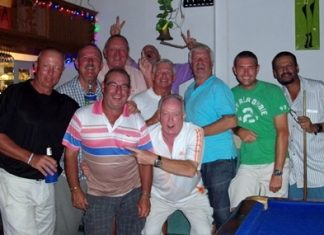 Bob Newell and his friends gather at Paradise Bar following the Birthday Bash golf on Saturday, March 30.
